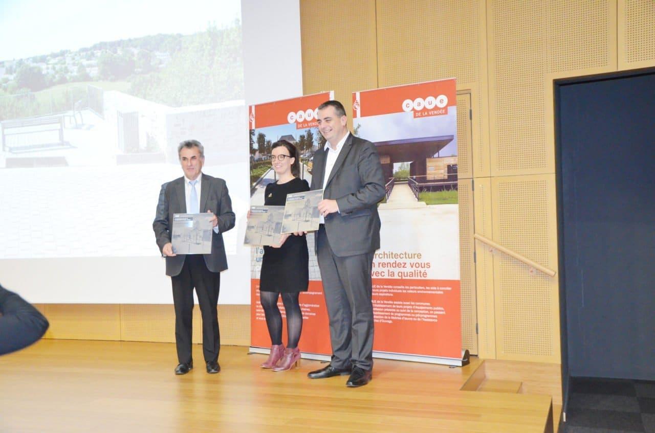 L'office HLM Vendée Habitat récompensé en 2017 - Remise du prix Aménagement et Urbanisme avec Atelier Pellegrino et mairie de Saint Georges de Montaigu, logement HLM Vendée récompensé